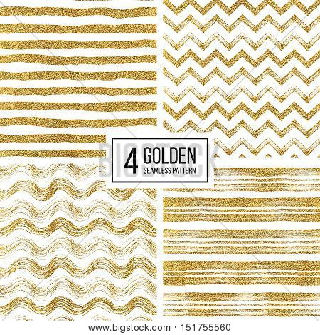 poster of Set of seamless pattern of gold glitter stripes, zigzag chevron, wavy stripe, seamless texture golden lines, wave, zig zag stripe, hand drawn vector pattern for paper, card, invitation, wedding, web