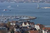 stock photo of labo  - Laboe Marina from above near Kiel Germany - JPG