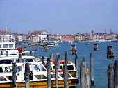Boats Moored In Grand Canal Venice