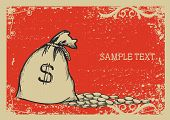 Money Bag .vector Graphic Image With Grunge Background