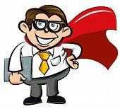Nerd de escritório de super-herói dos desenhos animados