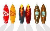 picture of tiki  - Set of vector surf boards with Hawaiian patterns and flames - JPG