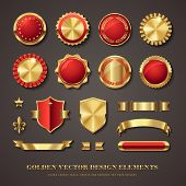 collection of elegant red and golden vector design elements - seals, labels, medals, crests, banners poster