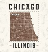 Chicago Vintage T-shirt Graphic Design With City Map. Tee Shirt Print, Typography, Label, Badge, Emb poster