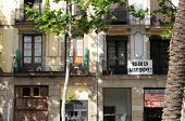 Banner in Barcelona neighborhood