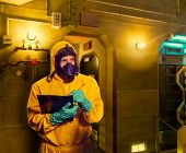 Man in protective suit poster