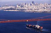 Container Ship Under Golden Gate