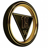 Gold metal nineteen Percent on white
