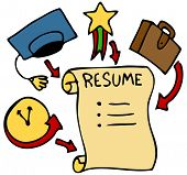 An image of a resume history, education, awards, and experience.