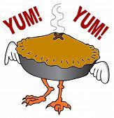 An image of a chicken pot pie cartoon character.