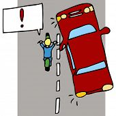 An image of a motorcycle accident with a car.