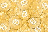 Golden Bitcoins Background poster