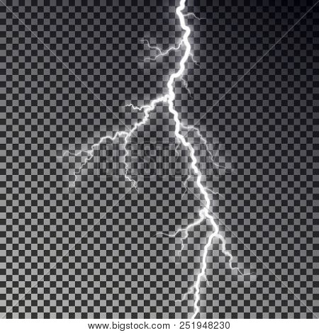 Lightning Bolt Isolated On Dark Checkered Background  Transparent  Thunderbolt Flah Effect  Realistic poster