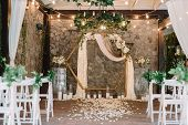 Magnificent Decoration Of A Wedding Ceremony With Original Details And Candles. Festive Sparks And G poster