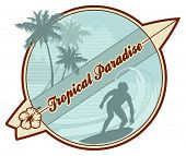 retro surf emblem with surfer's silhouette, palmtrees, abstract waves and copy-space