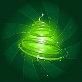 illustration of a stylized christmas tree against swirly background