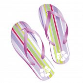 pair of striped flip-flops