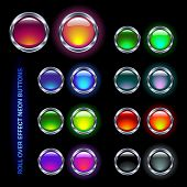 set of shiny neon glass buttons for rollover effects (off/on pairs)