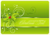 floral holiday background with hollies
