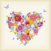 floral heart with butterflies - raster-version of img. no. 21740692