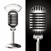 vector retro studio microphone with matching sign for your text