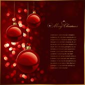 christmas background with red baubles against a glittering red background (no mesh or transparencies