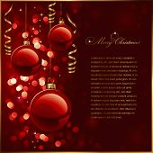 christmas background with red baubles, golden streamers and defocused lights (no mesh or transparenc