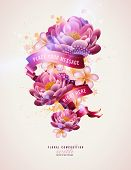 colorful floral composition with watercolor splats and banner for your text