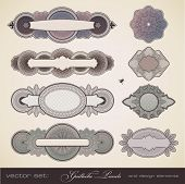 vector set: guilloche panels - different intricate design elements for certificates, coupons, diplom