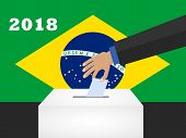 Election Day In Brazil 2018. Hand Holding Envelope Above Vote Ballot. Vector Illustration poster