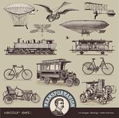 stock photo of mechanical drawing  - vintage means of transportation  - JPG