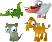 vector animals set 7: alligator, pelican, cat and camel