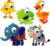vector animal set 51: chicken, frog, duck, elephant, cow