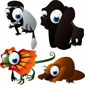 vector animal set 105: colobus, gorilla, lizard, duckbill