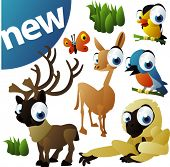 vector animal set 252: caribou, llama, monkey, birds