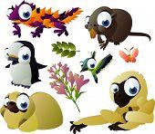 2010 animal set: thorny devil, nutria, penguin, hummingbird, gibbon, shitsu