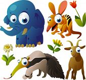 2010 animal set:  elephant, numbat, anteater, goat