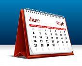 Vector illustration of a 2010 desk calendar showing the month June
