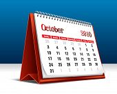 Vector illustration of a 2010 desk calendar showing the month October