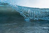 Wave Blue Crashing Detail Ocean Wave Cresting Crashing Rolling Breaking Water Closeup Hollow Detail  poster