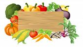 Vegetable Wooden Sign Illustration