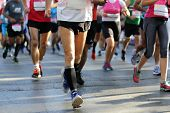 Marathon Running Race. Legs And Bodies Only. Unrecognizable People. The Marathon Is A Long-distance  poster