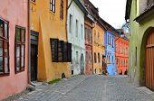 Medieval Street View  In Sighisoara, Transylvania