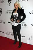LOS ANGELES - NOV 8:  Christina Aguilera arrives at the SKYRIM Launch Event at Belasco Theater on No