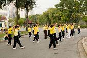 Tai Chi Practice In Park