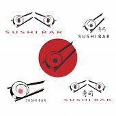 Japanese Sushi Bar. Roll And Sushi Sticks. Icons For Sushi Bar Or Restaurant, Menu Design. poster
