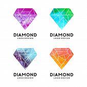Diamond With Watercolor Texture Logo Template. Diamond Logo Design poster