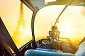 Helicopter Cockpit Flying On Place Du Trocadero In French Capital, Europe. Scenic Flight Above Eiffe poster