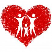family vector with hand drawn heart