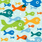 vector background with fish